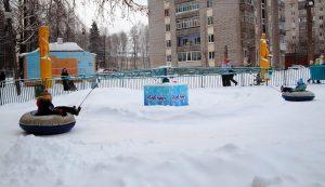 """Аттракцион """"Бублик"""" для тюбингов в парке Космонавтов"""