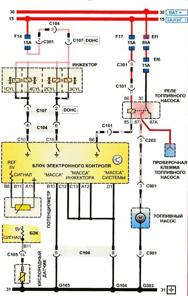 Пример принципиальной электрической схемы автомобиля